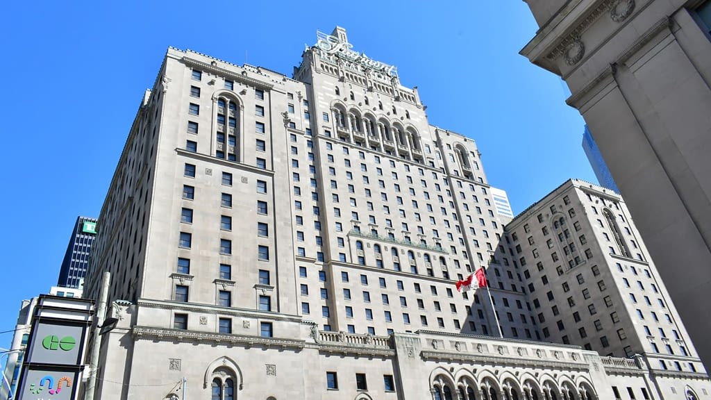 A view of Royal York Hotel in Toronto from the Southwest corner of Front street and York Street