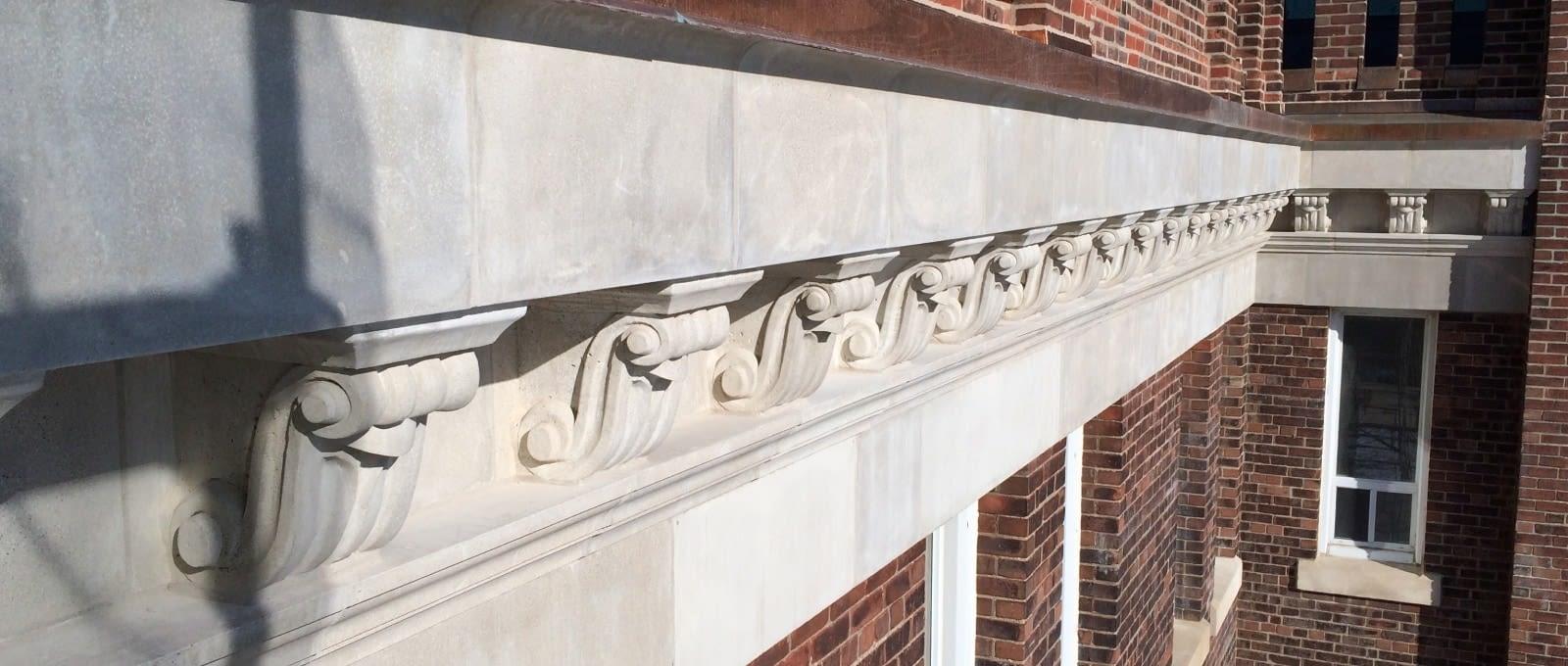 Close-up of detailed masonry restoration at St.Augustine's Seminary in Toronto, Ontario