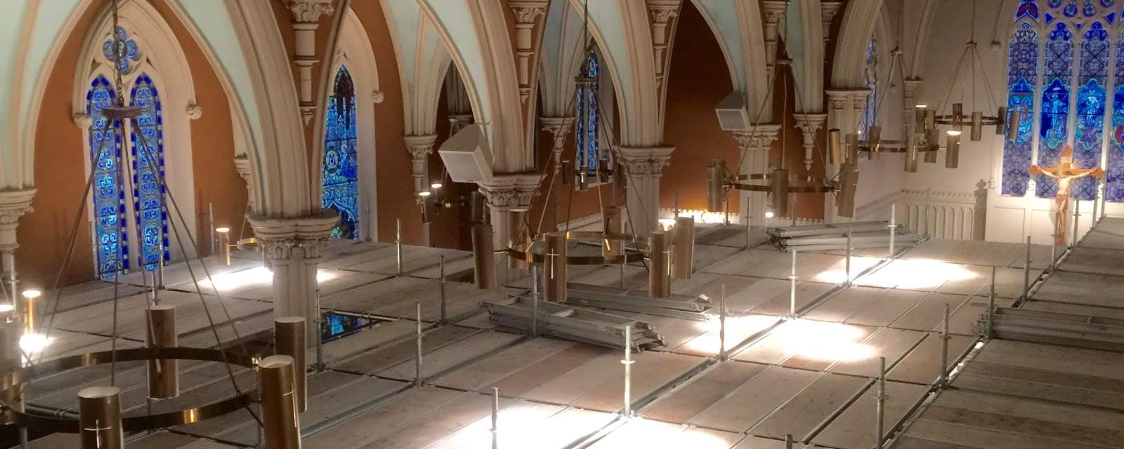 Our approach - Interior of St. Joseph's Roman Catholic Church undergoing restoration in Stratford, Ontario