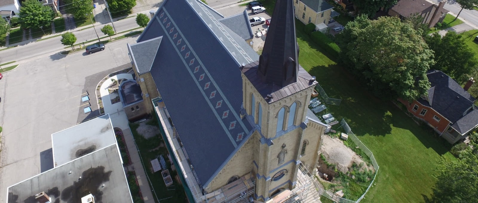 Specialty Commercial Roofing - Completed commercial roof restoration at St.Joseph's Roman Catholic Church in Stratford, Ontario
