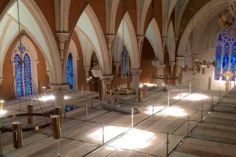 Interior of St. Joseph's Roman Catholic Church undergoing restoration in Stratford, Ontario
