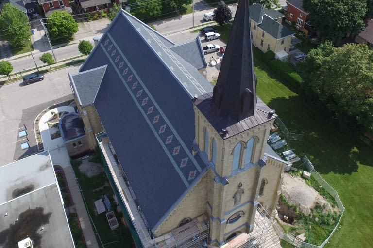 Specialty commercial roof restoration at St.Joseph's Roman Catholic Church in Stratford, Ontario