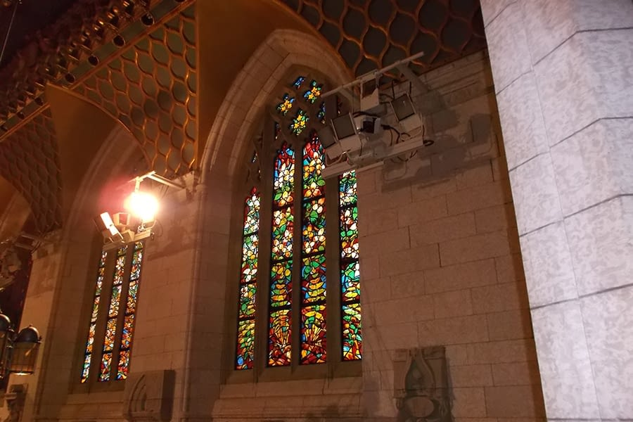 Night Time Full Window Stain Glass Restoration House of Commons Chamber