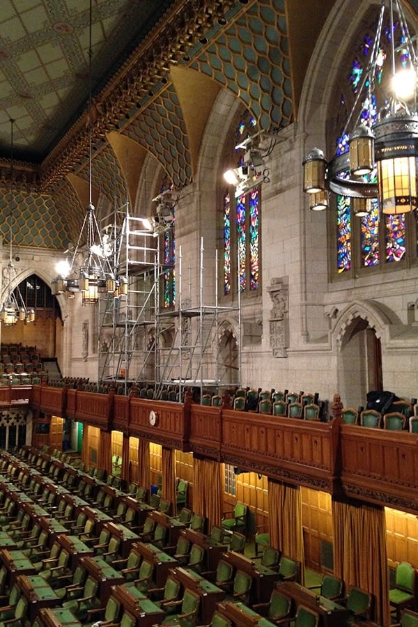 Full Chamber view of House of Commons Chamber Restored