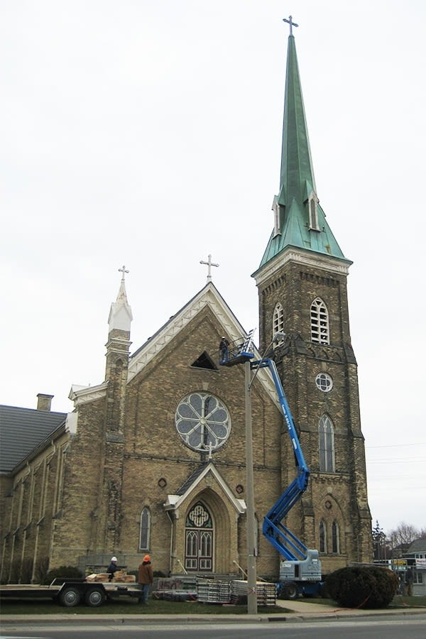 Our Lady of Mercy Church wide angle full view of church restoration project