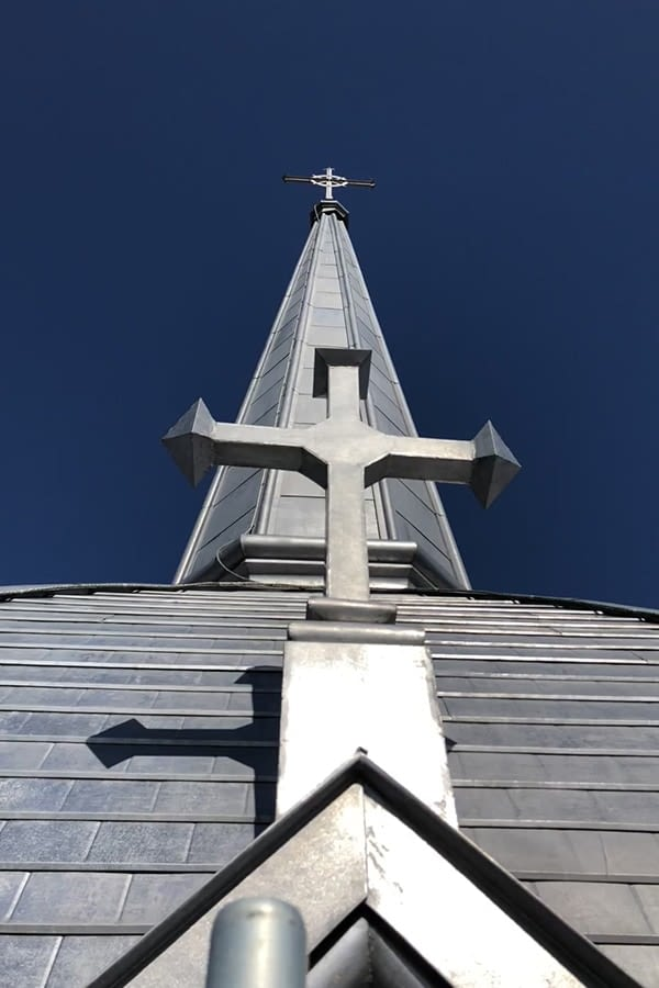 Full View of St. Anne's Church Roof and Point
