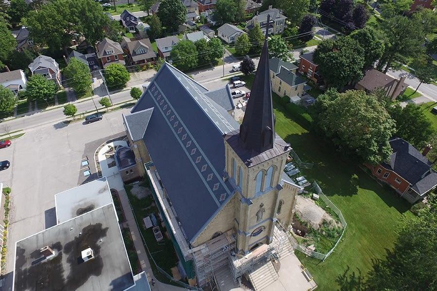 St. Joseph's Roman Catholic Church Slate Roof Restoration and Steeple Side View