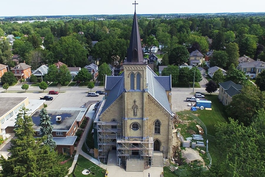 St. Joseph's Roman Catholic Church Steeple Replacement and Slate Roof Restoraation Front View